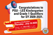 Congratulations to PSU - LES Kindergarten and Grade 1 Qualifiers for SY 2020-2021